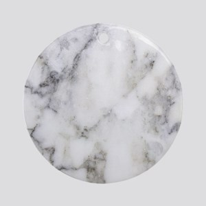 Trendy white and gray marble textur Round Ornament