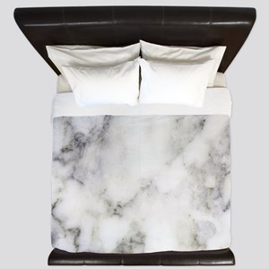 Trendy white and gray marble texture pr King Duvet