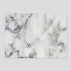 Trendy white and gray marble textur 5'x7'Area Rug