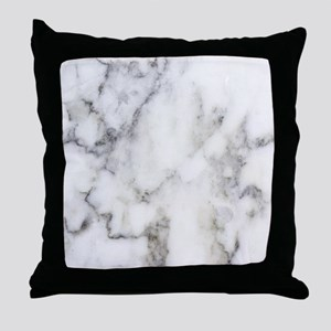 Trendy white and gray marble texture Throw Pillow