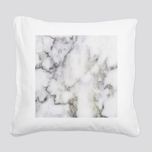 Trendy white and gray marble Square Canvas Pillow