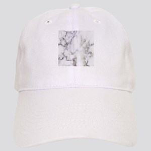 Trendy white and gray marble texture print Cap