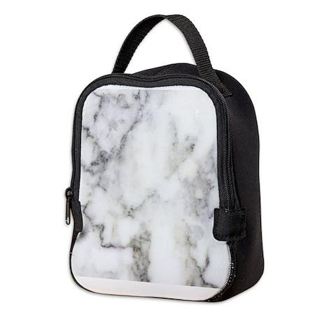 Trendy white and gray marble te Neoprene Lunch Bag