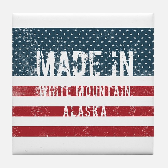 Made in White Mountain, Alaska Tile Coaster