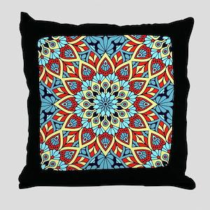 Red Blue Yellow Mandala Throw Pillow