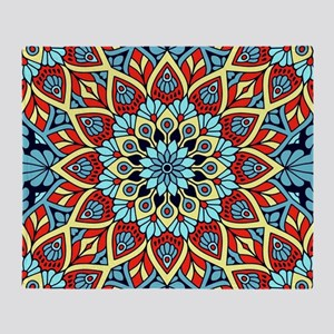 Red Blue Yellow Mandala Throw Blanket