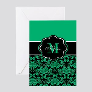 Teal Damask Personalized Greeting Cards