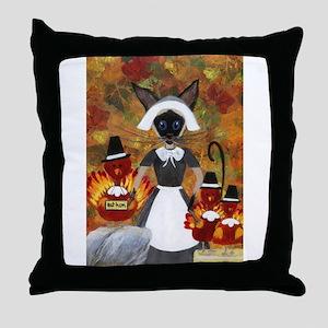 Siamese Queen of Thanksgiving Throw Pillow