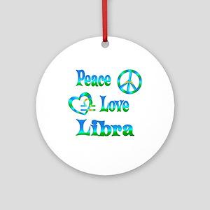 Peace Love Libra Ornament (Round)