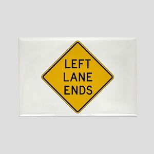 Left Lane Ends - USA Rectangle Magnet