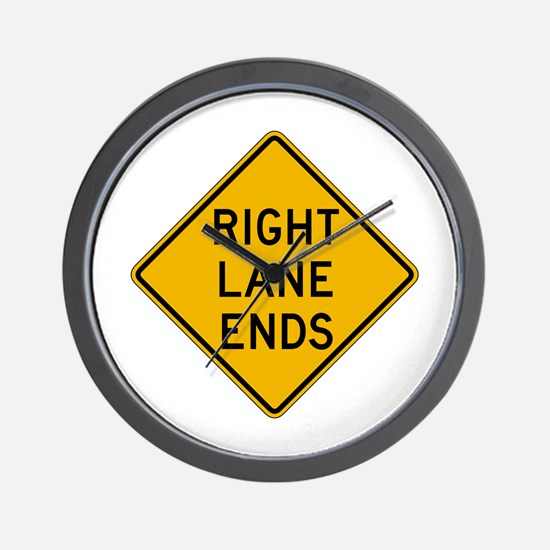 Right Lane Ends - USA Wall Clock
