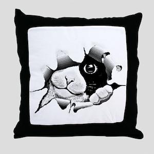 Kitten Peeking Out Of Hole Throw Pillow