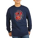 Smoke & Flames Skull Long Sleeve Dark T-Shirt