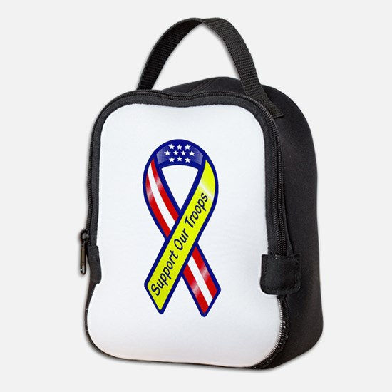Support Our Troops Ribbon Neoprene Lunch Bag