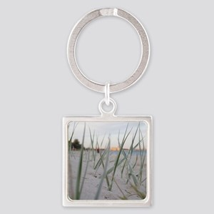 Grass close up on sandy beach Square Keychain