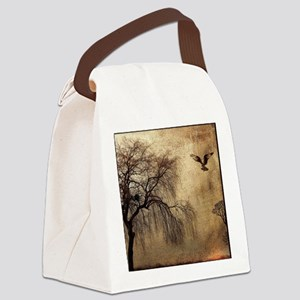 Weeping Willow with Bird Canvas Lunch Bag