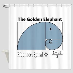 Fibonacci Spiral - Golden Elephant Shower Curtain
