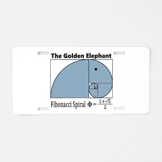 Fibonacci Spiral - Golden E Aluminum License Plate