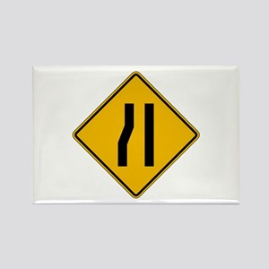 Lane Ends Left - USA Rectangle Magnet