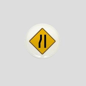 Lane Ends Left - USA Mini Button