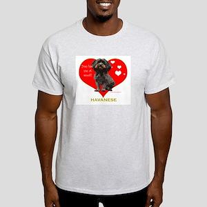 Havanese Valentine Woof Ebony Ash Grey T-Shirt
