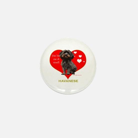 Havanese Valentine Woof Ebony Mini Button