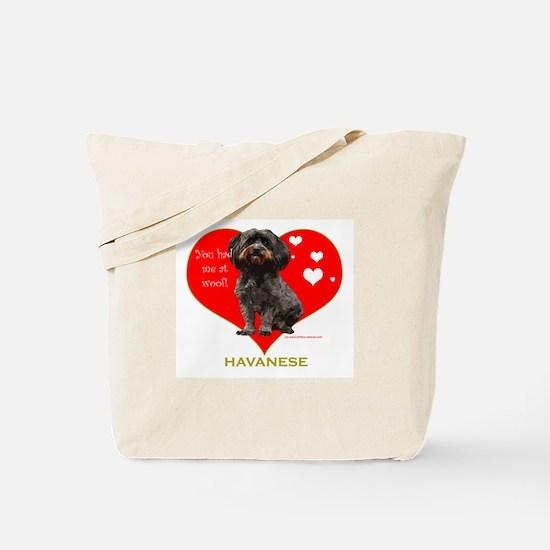 Havanese Valentine Woof Ebony Tote Bag