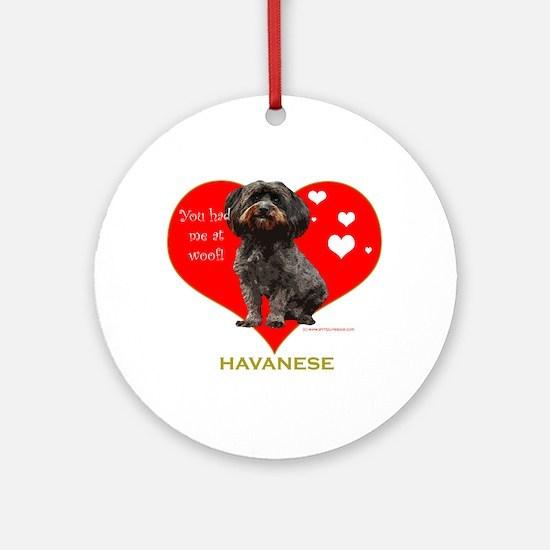 Havanese Valentine Woof Ebony Ornament (Round)