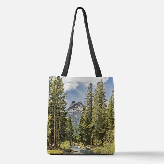 Mountain River Scene Polyester Tote Bag