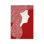 Red Lady Rectangle Magnet