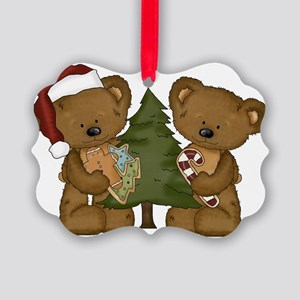 christmas bears with tree Picture Ornament