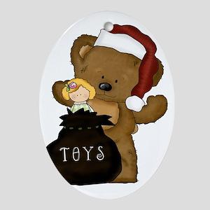 santa bear with toys Oval Ornament