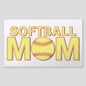 Softball Mom Yellow and Red Lace Sticker (Rectangl