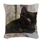 Sleepy Kitty Woven Throw Pillow