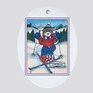 Skiing Section Oval Ornament
