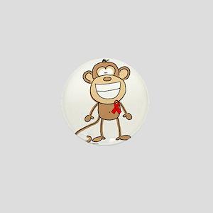 Red Ribbon Monkey Mini Button