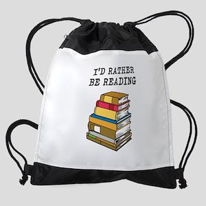 Rather Be Reading Drawstring Bag