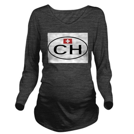 CH Switzerland.png Long Sleeve Maternity T-Shirt