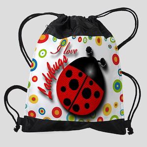 I Love Ladybugs Drawstring Bag