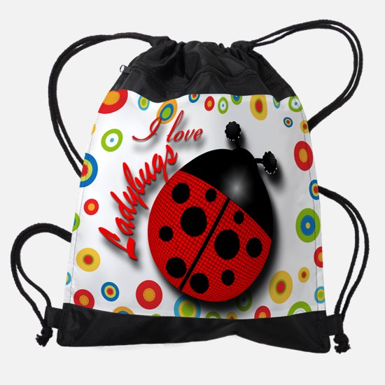 I Love Ladybugs Drawstring Bag