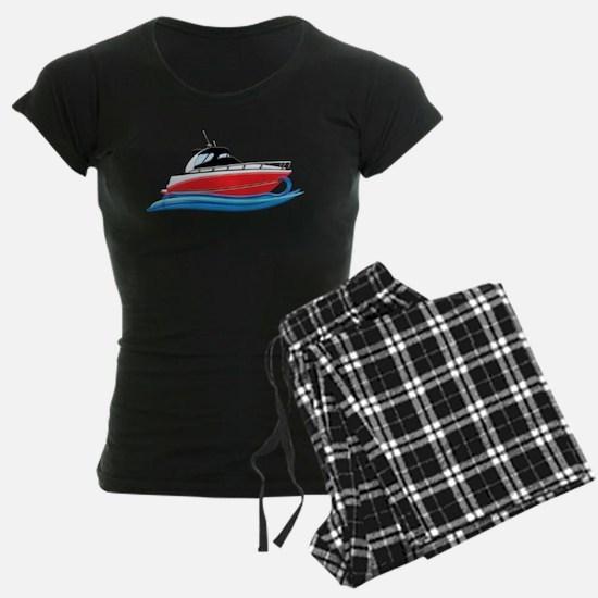 Sleek Red Yacht in Blue Waves Pajamas