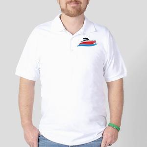Sleek Red Yacht in Blue Waves Golf Shirt
