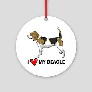 I Heart My Beagle Ornament (Round)