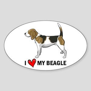 I Heart My Beagle Oval Sticker