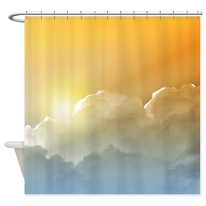 Blue Sky With White Clouds Shower Curtains