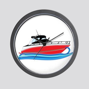 Sleek Red Yacht in Blue Waves Wall Clock