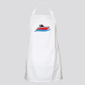 Sleek Red Yacht in Blue Waves Apron