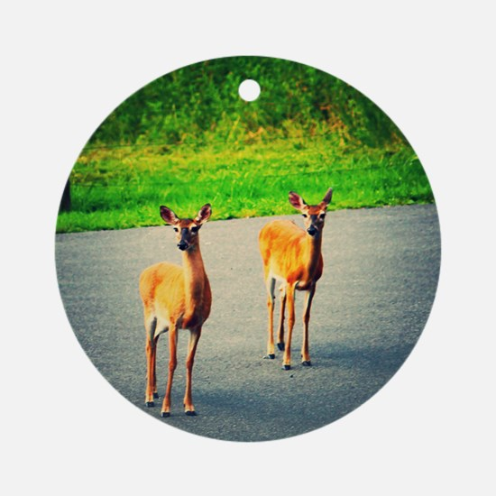 Two Deer Round Ornament