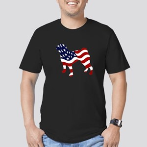 Patriotic Pug - Men's Fitted T-Shirt (dark)