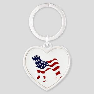 Patriotic Pug - Heart Keychain
